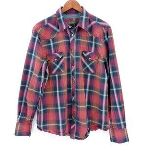 Ben Sherman Rust Plaid Pearl Snap Shirt